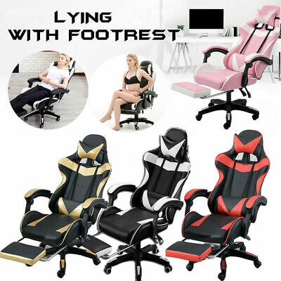 AU128.99 • Buy Executive Office Computer Gaming Chair Racer Recliner Chairs PU Leather Seat