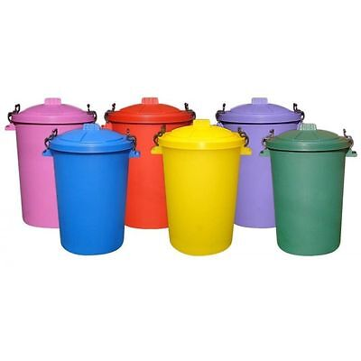 £14.95 • Buy 85L PLASTIC DUSTBI Colour  Garden/HOME/ OUTDOOR / FEED /Bin WITH  Locking Lid
