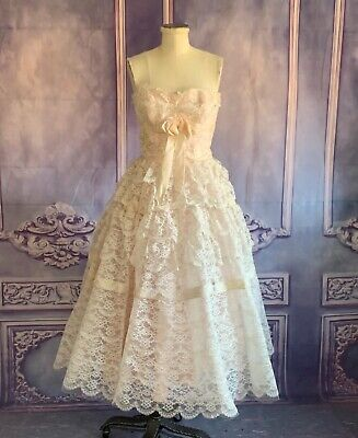 £162.30 • Buy Stunning 1950s Vintage Frilly Lace Voluminous Cotillion Gown Dress XS White Pink