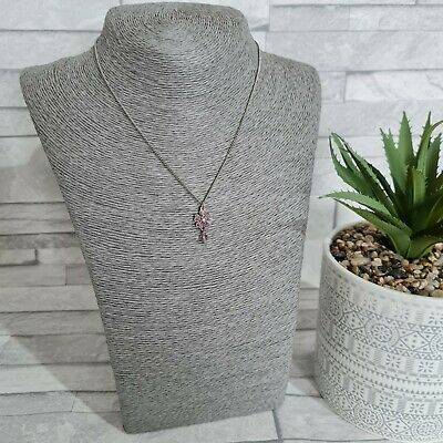 £5.90 • Buy OASIS Silvertone Chain Necklace Pink Rhodes Flower Pendant Costume Jewellery