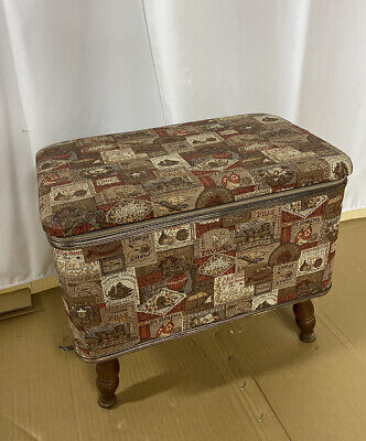 £15.97 • Buy Vintage Sewing Storage Stool Basket Bench Ottoman Box Chest-Beautiful Condition
