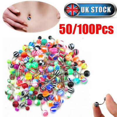 £4.59 • Buy 50Pcs Multicolor Belly Button Navel Ring Bar Bars Body Piercing Jewellery Rings