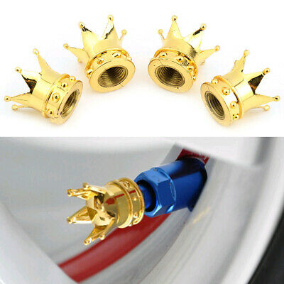 AU6.07 • Buy 4x Gold Crown Car Wheel Tire Valve Stems Air Dust Cover Screws Cap Accessories