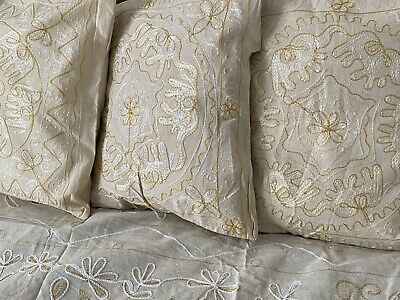 £9.99 • Buy Lovely Indian Calico Cotton Embroidered Cushion Covers