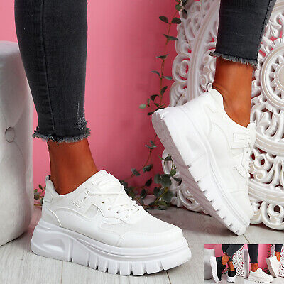 $ CDN29.41 • Buy Womens Ladies Lace Up Chunky Heel Trainers Platform Sneakers Women Shoes Size Uk