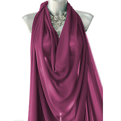 £4.49 • Buy Mulberry Georgette Crepe Chiffon Fabric 60  Plain Dyed Craft/Dress Clearance