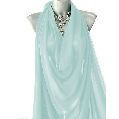 £4.49 • Buy Sky Blue Georgette Crepe Chiffon Fabric 60  Plain Dyed Craft Clearance Per Metre