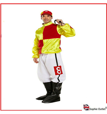 £20.30 • Buy Men's JOCKEY COSTUME Adult Sports Outfit Hard Rider Horse Stag Party Fancy Dress