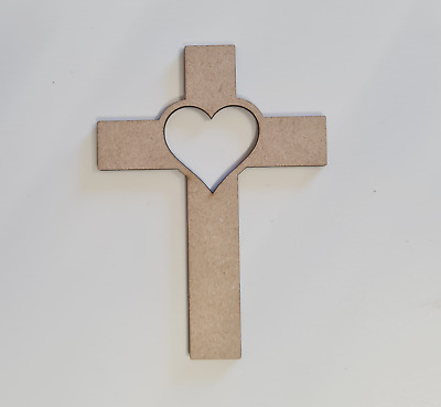 £4 • Buy Wooden MDF Christian Heart Cross D Shapes Decoration Craft 100,150,200mm