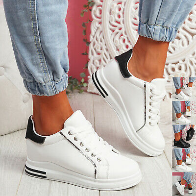 £14.99 • Buy Womens Ladies Glitter Lace Up Trainers Wedge Sneakers Plimsolls Women Shoes
