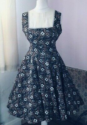 True Vintage 70s Does 50s Full Circle Dress Rockabilly Rock And Roll 10-12 Jive  • 34.99£