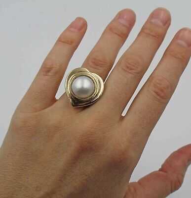 $1250 • Buy Vintage Mabe Pearl 14K Yellow Gold Heart Cocktail Ring Sz 6.25