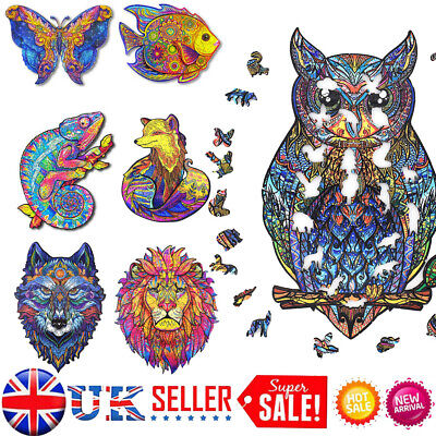 £14.98 • Buy Wooden Jigsaw Puzzles Unique Animal Shape Jigsaw Pieces Adult Kid Toy Home Decor