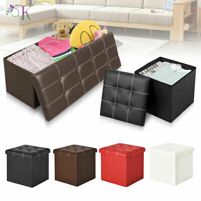 Faux Leather Ottoman Pouffe Large Storage Box Foot Stools 1&2 Seater Bench Seat • 11.99£