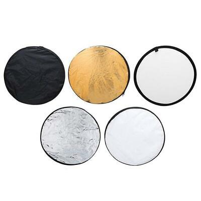 5 In 1 Collapsible Light Round Photography Reflector For Studio Multi Photo ❤ • 6.57£