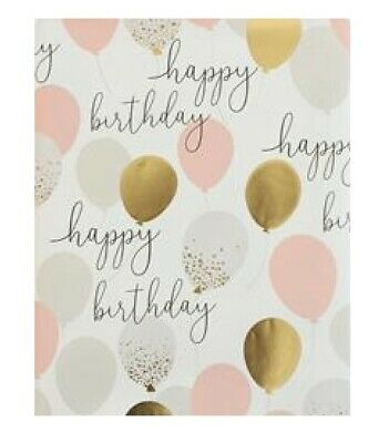 £2.99 • Buy Sheet Of Happy Birthday Gold Foil Balloons Wrapping Paper