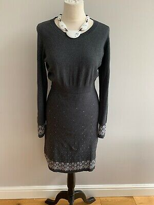 £14.99 • Buy FatFace 100% Cotton Grey Knitted Tunic Dress Size 12 Fair Isle Nordic Design