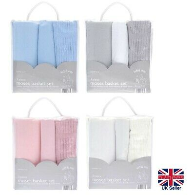 £13.99 • Buy Newborn Baby Boy Girl 3 Piece Moses Basket Bedding Set -Fitted Sheet 2x Blankets