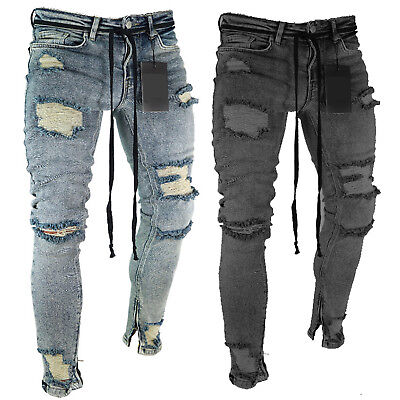 $28.40 • Buy Mens Skinny Jeans Ripped Pants Slim Fit Denim Stretch Distressed Frayed Trousers