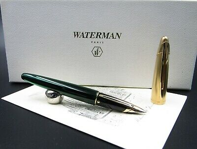 Fountain Pen Waterman Edson Green With Solid Gold Nib 18kt EF Rare Nos In Box  • 869.28£