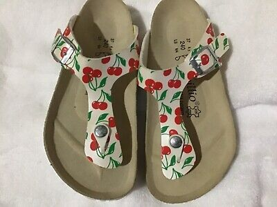 Papillio By Birkenstock Gizeh White With Red Cherries Womens Us 6m(normal) Eu 37 • 70.93£