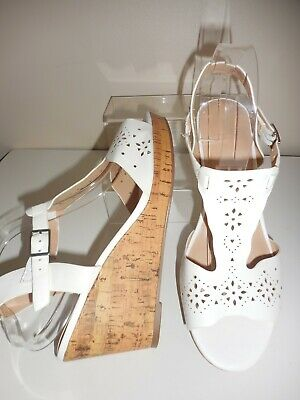 White Strappy Wedge Sandal/ Shoes Size 5 Uk Wide (e Fit) Bnwt From Evans • 16.99£