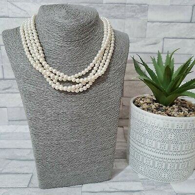 £8.50 • Buy Statement Necklace White Multi Strand Faux Pearls Costume Jewellery