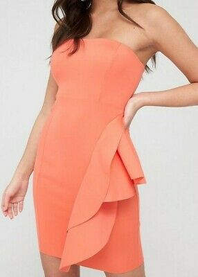 River Island Coral Bodycon Mini Dress Size 10 New With Tags • 6.99£