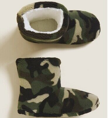 £11.50 • Buy M&S Boys Camouflage Slipper Boots BNWT Size 7