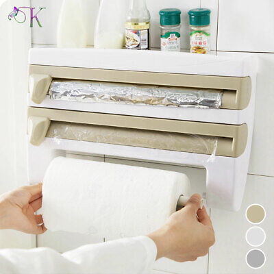 £8.99 • Buy Cling Film And Kitchen Foil Dispenser Paper Towel Roll Holder Wall Mounted Rack
