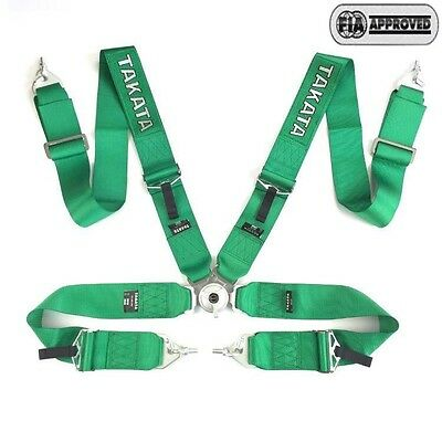 $98.57 • Buy NWT Universal Green 4 Point Camlock Quick Release Racing Car Seat Belt Harness G