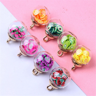 £2.65 • Buy 10pcs Charms Fruit Round Glass Ball Pendant Earring Jewelry Accessorie 16mm