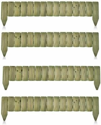 £29.99 • Buy 1M Log Roll Border Fixed Picket Fence Edge Garden Outdoor Lawn Edging 15x100cm