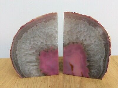 £35 • Buy Pink Agate Semi Precious Polished Stone Crystal Bookends 1.44kg