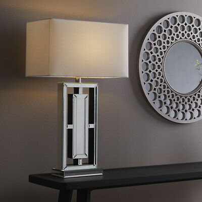 £79.99 • Buy New Stunning Modern Floating Mirrored Living Area Bedside Table Lamp White Shade