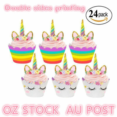 AU7.36 • Buy 24 Decrorations Unicorn Toppers Cake Kids Pieces Birthday Wrappers Cupcake Party