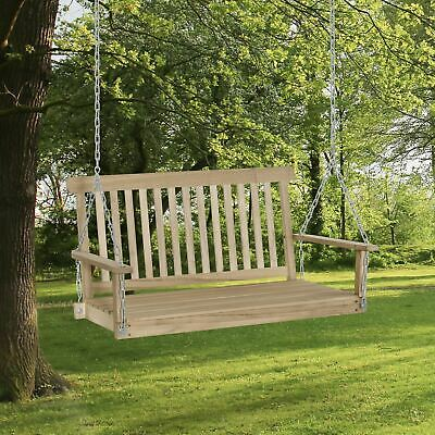 £89.99 • Buy Outsunny 2 Seater Porch Wooden Swing Chair Garden Bench W/ Chains Natural