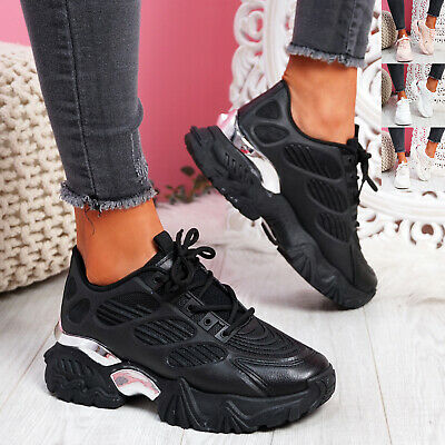 $ CDN38.07 • Buy Womens Ladies Chunky Trainers Platform Sneakers Lace Up Sport Women Shoes Size