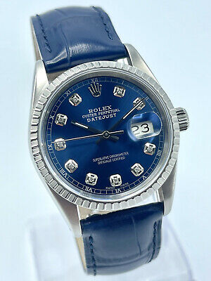 $ CDN6583 • Buy Rolex Datejust 36mm Blue Diamond Dial 16220 Navy Blue Leather Strap With Box