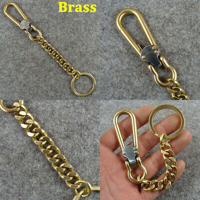 £11.99 • Buy Solid Brass Key Chain Holder Keyrings With Snap Hook Men's Belt Clip Keychains