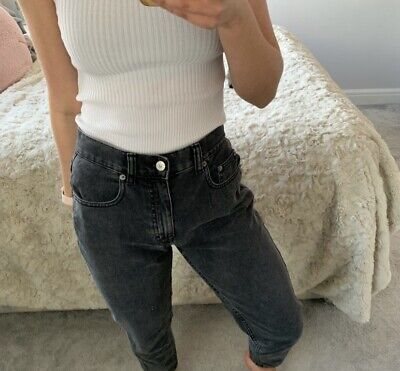 £12.50 • Buy Womens Pull And Bear Washed Black Jeans Basic Mom Jeans Size 8