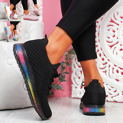 $ CDN25.56 • Buy Womens Ladies Lace Knit Rainbow Trainers Sport Sneakers Party Women Shoes Size