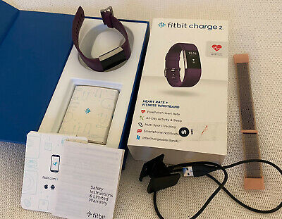 $ CDN77.54 • Buy QUALITY FITBIT CHARGE 2 Heart Rate + Fitness Wristband In PURPLE Size SMALL - S