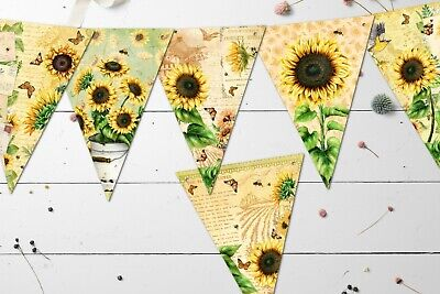 £5.99 • Buy Vintage Style Sunflowers, Butterflies, Bees & Birds Summer Floral Bunting/Banner