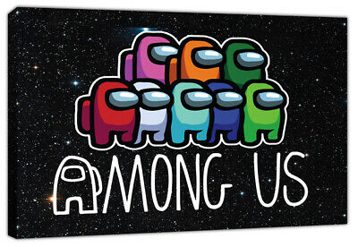 Among Us Gaming Canvas Wall Art Print Gamer Imposter Boys Girls Crewmates • 23.99£