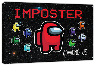 Imposter Among Us Gaming Canvas Wall Art Print Gamer Boys Girls Crewmates • 29.99£
