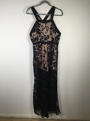 AU99.95 • Buy Alice McCall Womens Black Floral Lace Jumpsuit Size 14 With Nude Underlay