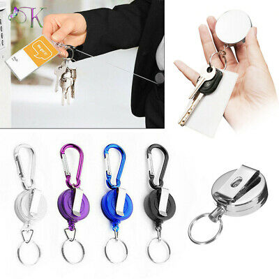 £2.89 • Buy 1/2/4 PCS Stainless Silver Retractable Key Chain Recoil Keyring Heavy Duty Steel