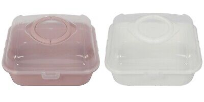 Plastic Square Cake Carrier. Lockable Lid Cover With Handle.(25.5 X 25.5 Cm) • 7.95£