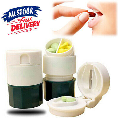 AU10.75 • Buy 4 Layers Storage Cup Tablet Divider Box Hot Cutter Grinder Splitter Pill Crusher